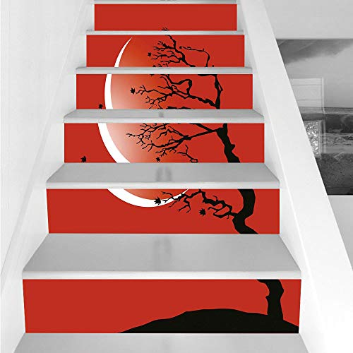 (Stair Stickers Wall Stickers,6 PCS Self-adhesive,Modern,Digital Nature Scene with Tree Windy Branches Crescent Moon and Stars Artwork,Red Black White,Stair Riser Decal for Living Room, Hall, Kids Room)