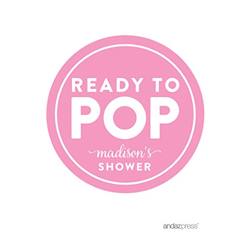 Andaz Press Ready to Pop Baby Shower Collection, Personalized Round Circle Label Stickers, Pink, 40-Pack, Custom Name, Invitation Envelope Seals, Stationery by Andaz Press