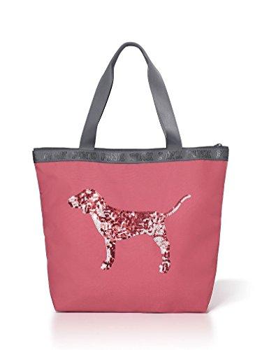 Victoria's Secret PINK Begonia Bling Sequin Dog Zip Top Tote