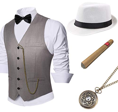 BABEYOND 1920s Mens Gatsby Gangster Vest Costume Accessories Set Fedora Hat (Gray, X-Large) (20s Style Hat Men)