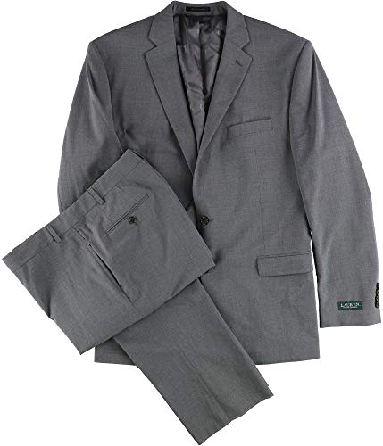 Lauren By Ralph Lauren Mens 46R Two Button Wool Suit Set Gray 46