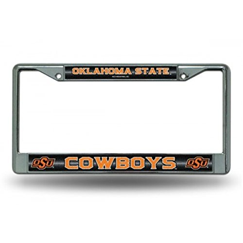 NCAA Oklahoma State Cowboys Bling Chrome License Plate Frame with Glitter Accent