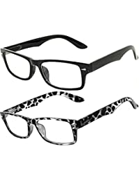 Classic Retro Style Narrow Rectangular Frame Clear Lens...