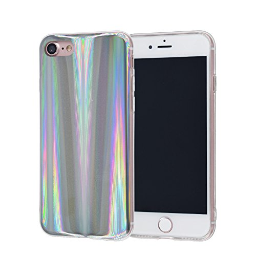 iPhone 8 Plus/7 Plus Case, FACEVER Psychedelic Holographic Rainbow Case For iPhone 7 Plus iPhone 8 Plus, Sparkle Shiny Colorful Laser Soft Protective Phone Cover -Silver