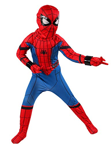 JAPANSCHOICE Kids Superhero Costume Suit 3D Spandex Unisex Jumpsuit Bodysuit for Kids Aged 5-13 (Spiderman, S (fit for Height 43.3