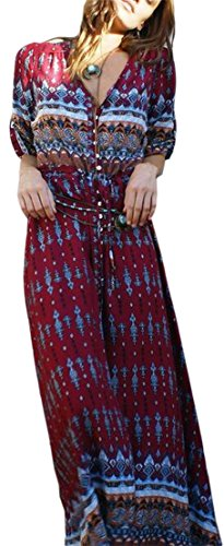 Jaycargogo Womens Occasionnel Bouton Manches Longues V-cou Vin Rouge Robe Bohème Longue