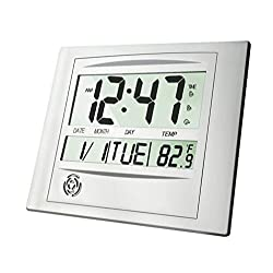 HeQiao Digital Wall Clocks, 12 Inch Stylish Brushed Aluminum Silent Desk Clock Easy-Read Large LCD Battery Operated Alarm Clock w/Calendar Temperature for Home Office (2 Alarms, Luxury Silver)
