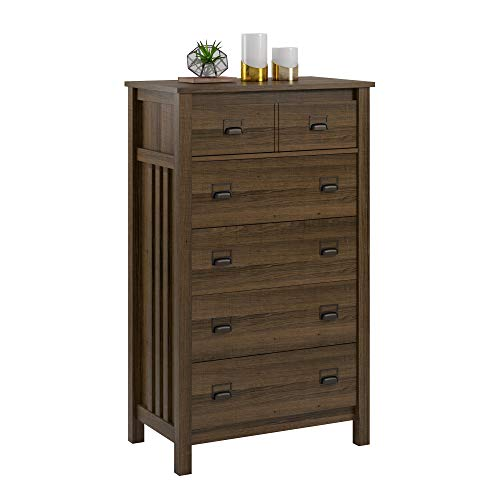 Adams 5 Drawer Dresser, Brown Oak