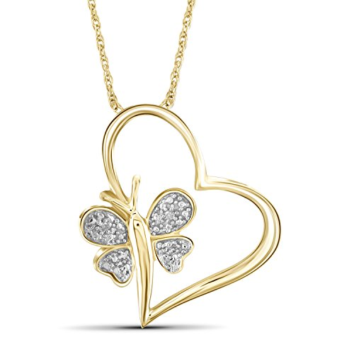 Jewelexcess White Diamond Accent 14k Gold Over Silver Heart And Butterfly Pendant Diamond Accent Butterfly Pendant