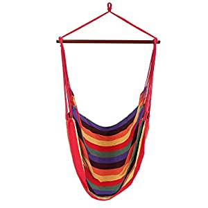 SONGMICS Extra Large Hanging Hammock Chair Porch Swing Seat Colorful UGDC185