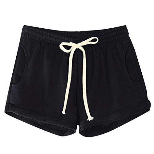 Women's Workout Fitness Running Hot Shorts,Women Casual Solid Pockets Elastic Waist Loose Pajama Shorts Gym Sport Pants Elastic Waistband Sport Shorts Athletic Jogging Sweat Shorts (XL, Black) from succeedtop
