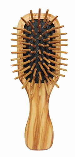 - Lilywoods Mini Travel Size Wooden Hairbrush - with Rubber Cushion and Olive Wood Pins - Rectangular