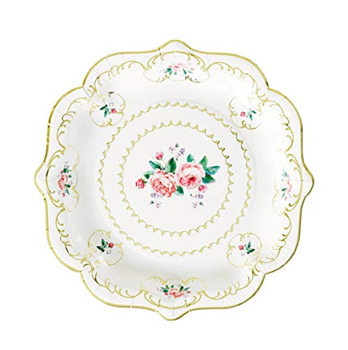 Paper Plates Disposable Plates Party Plates Wedding Plates for Wedding Reception Floral Blossom Girls 8.5