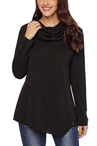 Pull Asymétrique Noir Sweatshirts Yulinge Hooides Collier Col wUqOW7xHT