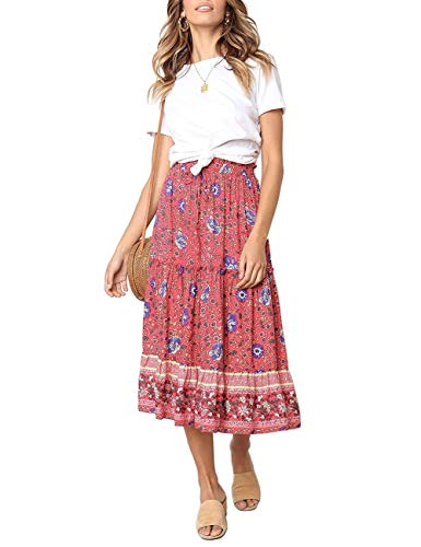 MEROKEETY Women's Boho Floral Print Elastic High Waist Pleated A Line Midi Skirt with Pockets Red