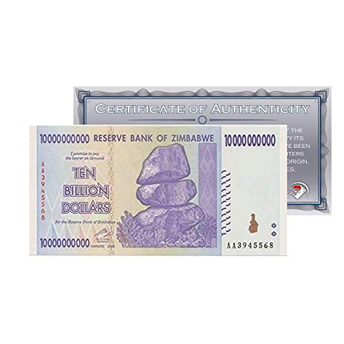 (Zimbabwe 10 Billion Dollars Banknote 2008, World Currency Inflation Record, with Certificate of Authenticity (COA) by)