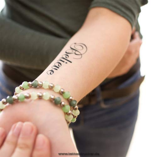 10 x Believe - Temporary Tattoo Lettering in Black (10) for $<!--$12.00-->