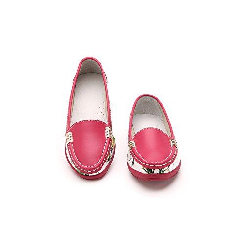 Verocara Femmes En Cuir Plat Bateau Chaussures Occasionnels Chaussures Mocassins Rouge