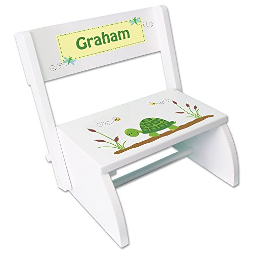 Personalized Turtle Childrens and Toddlers White folding stool