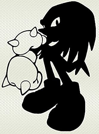 Amazon Com Sega Sonic The Hedgehog Game Knuckles Vinyl Stickers Symbol 6 Decorative Die Cut Decal For Cars Tablets Laptops Skateboard Black Computers Accessories