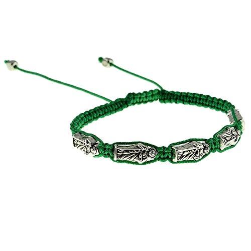 San Judas Saint St Jude the Apostle 5 Silver Tone Metal Charms Adjustable Green Cord Catholic Bracelet (Saint Jude Charms For Bracelets)