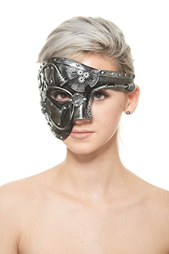 (Silver Terminator Steam Punk Masquerade Mask with Rods, Gears and Computer Parts (Unisex; One Size Fits)