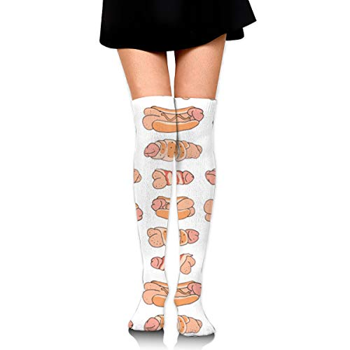 Delicious Penis Hot Dog Personality Womens Girls Long Stockings Polyester 25.6in Cosplay Cute Boots Knee High Thigh Skirt Dress Party Socks Warm and Breathable,Sock