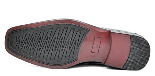 Bruno Marc Menns Seremoni Faux Patent Lær Kjole Oxfords Loafers Sko 2-sorte