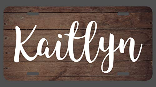 (JMM Industries Kaitlyn Name Wood Style License Plate Tag Vanity Novelty Metal 6-Inches by 12-Inches Premium Quality UV Printed)
