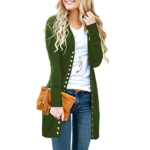 SATINATO Sweaters for Women,Cardigan Sweaters for Women, Long Sleeve Soft Basic Knit Solid Color Cardigan Sweater (Olive,L)