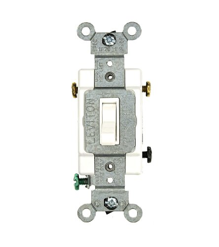 Amp, 120/277 Volt, Toggle Framed 3-Way AC Quiet Switch, Commercial Grade, Grounding, White ()
