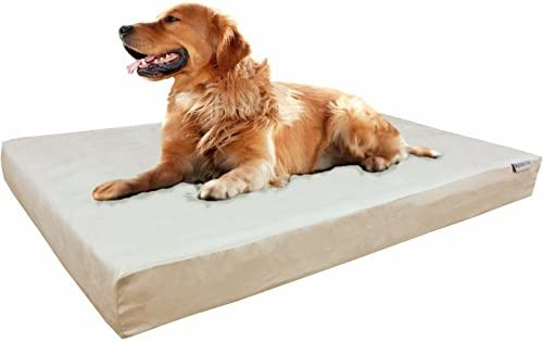 Dogbed4less Memory Foam Dog Bed True Pressure-Relief Orthopedic, Waterproof Case and 2 Washable External Covers 7 Sizes 2 Colors