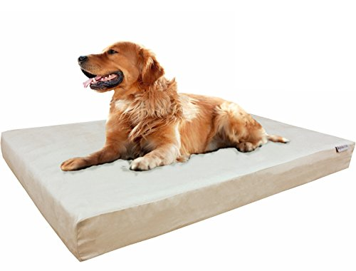 Dogbed4less Extra Large Orthopedic Gel Cooling Memory Foam Dog Bed, Waterproof Liner and Extra Pet Bed Cover, 40X35X4 Inch, Khaki Color