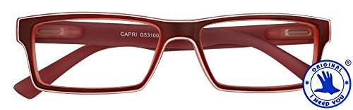 I NEED YOU Reading Glasses Red Capri Designer Square Frames - Eyeglasses For Men & Women With Spring Hinge And High-Quality Plastic - Prescription Eyewear – Power - Eyeglass Plastic Red Frames