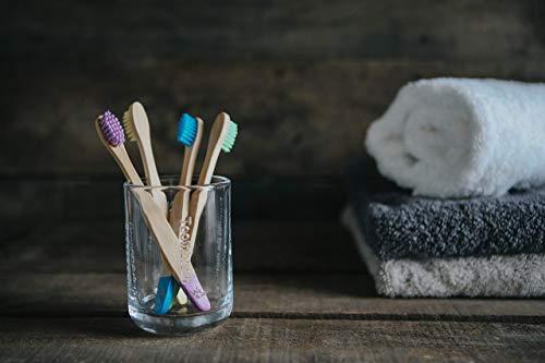 Cepillo de dientes de bambú orgánico para niños   Cuatro colores   Cerdas firmes de fibra de carbono   Mango 100% biodegradable   Cepillos de dientes ...