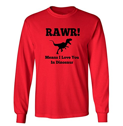 Dinosaurs Youth T-shirt (Mashed Clothing RAWR! Means I Love You In Dinosaur Funny Youth Long Sleeve T-Shirt (Red, Youth XL))