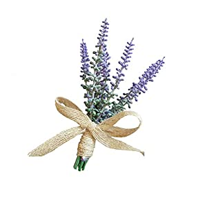 WeddingBobDIY Artificial Lavender Flower Groom Boutonniere Man Party Decoration Pack of 2 Pieces 96