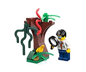 LEGO MiniFigure: Jungle Scientist (White Lab Coat) w/ Magnifying Glass, & Tree MiniBuild