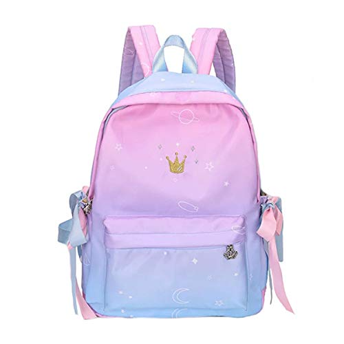 TYPIFY Women's Preppy Style Ribbon Backpack (Pink, Blue)