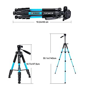 BONFOTO Q111 Camera Tripod 55-inch Compact Lightweight Travel Tripod with Phone Holder Mount for YouTube Phone Live Broadcast Live Chat Projector Gopro and DSLR Canon EOS Nikon Sony Samsung(Blue)