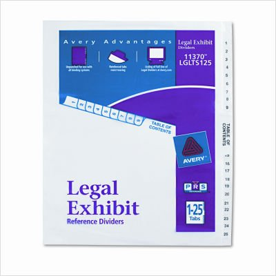 Avery(R) Legal Index Exhibit Dividers, Side Tab, 1-25 8 1/2in. x 11in.
