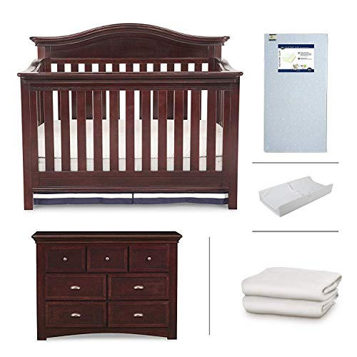 Nursery Furniture Set with Convertible Crib, Dresser, Crib Mattress, Changing Pad and Daybed/Toddler Guardrail by Simmons Kids – 5-Piece Augusta Collection in Molasses ()