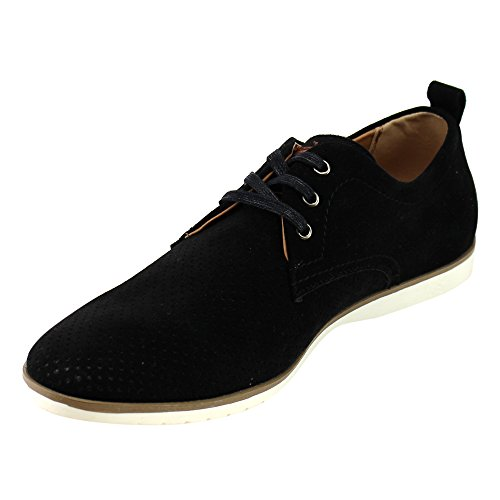 Arider AD03 Mens Perforated Lace Up White Sole Flat Heel Oxfords Black bWyMEFe7O