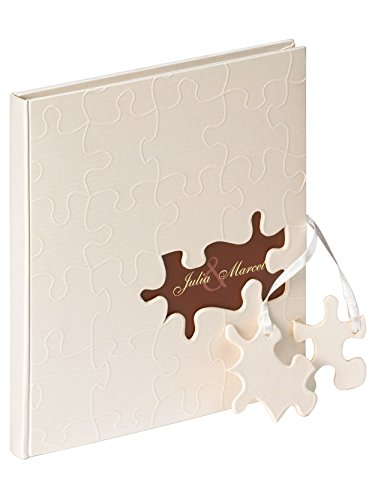 - Walther design GB-173 Puzzle wedding guest book with linen cover & blind embossing, die cut for your personal name, puzzle pendant on satin ribbon, 9 x 98 inch (23 x 25 cm), 144 white pages,