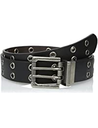 Men's Leather Grommet Reversible Belt Black to Brown