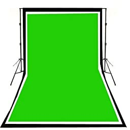 ePhoto Photo & Video Studio Black, White & Chromakey Green Screen, 6x9-Feet Muslin Backdrops with Support System and Bag 901+6x9BWG