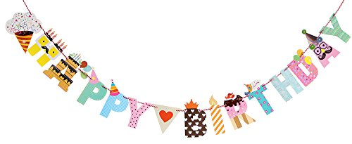 LOVELY BITON(TM) Rainbow Colorful Happy Birthday Wall Banner, Party Decorations, Versatile, Beautiful, Swallowtail Bunting Flag garland Surprise (Surprise Banner)