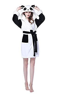 NEWCOSPLAY Unisex Adult Fleece Panda Bathrobe Short Robe Pajamas Sleepwear
