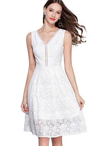 - VEIIASR Women's Vogue Lace V-Neck Chic Cocktail Party Sleeveless Dress (Small, Off-White)