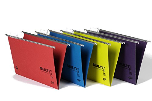 Suspension Filing Trolley - Rexel Multifile Plus 15mm Foolscap Suspension File - Assorted Colours (Pack of 10)